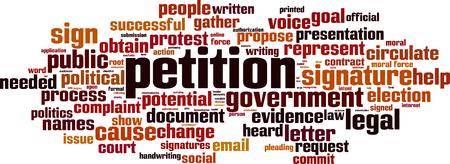 petition: Petition word cloud concept. Vector illustration
