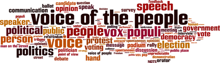 spontaneous expression: Voice of the people word cloud concept. Vector illustration