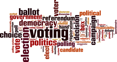 polling station: Voting word cloud concept. Vector illustration