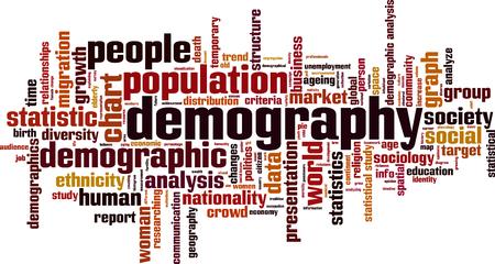 Demografía palabra nube concepto. ilustración vectorial