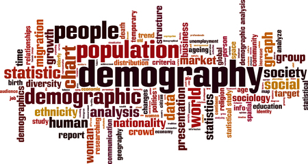 parola di Demografia concetto di cloud. illustrazione di vettore
