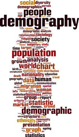 Demography word cloud concept. Vector illustration