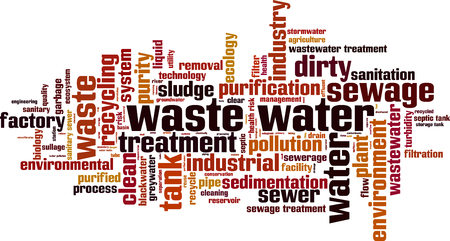 riesgo quimico: Waste water word cloud concept. Vector illustration