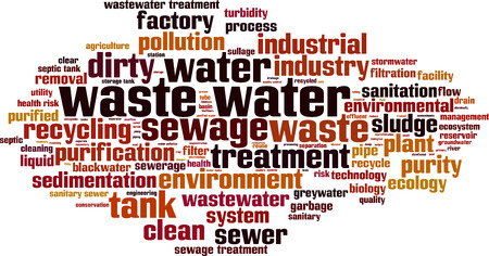 biological waste: Waste water word cloud concept. Vector illustration