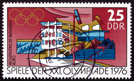 the olympic games: GERMANY - CIRCA 1976: a stamp printed in Germany shows Regatta Course, Brandenburg, 21st Olympic Games, Montreal, Canada, circa 1976