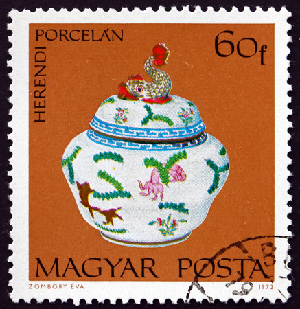 HUNGARY - CIRCA 1972: a stamp printed in Hungary shows Covered Candy Dish, Herend Porcelain, circa 1972 Editorial