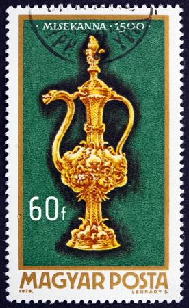 bureta: Hungría - alrededor de 1970: un sello impreso en Hungría muestra Altar Bureta, 1500, Art orfebres de Hungría, alrededor de 1970 Editorial