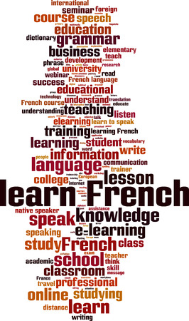 talking dictionary: Learn French word cloud concept. Vector illustration