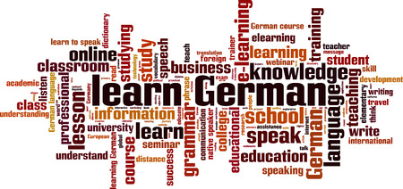 talking dictionary: Learn German word cloud concept. Vector illustration Illustration