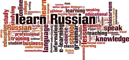 talking dictionary: Learn Russian word cloud concept. Vector illustration