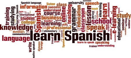 talking dictionary: Learn Spanish word cloud concept. Vector illustration