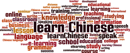 chinese word: Learn Chinese word cloud concept. Vector illustration Illustration