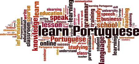 talking dictionary: Learn Portuguese word cloud concept. Vector illustration