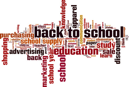 Back to school word cloud concept. Vector illustration