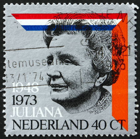 juliana: NETHERLANDS - CIRCA 1973: a stamp printed in Netherlands shows Queen Juliana, Dutch and House of Orange Colors, circa 1973