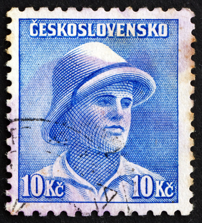 seconda guerra mondiale: CZECHOSLOVAKIA - CIRCA 1945: a stamp printed in Czechoslovakia shows Private Frantisek Adamek, British Colonial Service, Second World War, circa 1945