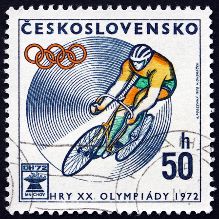 olympic games: CZECHOSLOVAKIA - CIRCA 1972: a stamp printed in Czechoslovakia shows Bicycling, 20th Olympic Games, Munich, circa 1972 Editorial