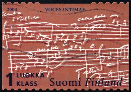 sibelius: FINLAND - CIRCA 2004: a stamp printed in Finland shows Score of Voces Intimae by Jean Sibelius, circa 2004