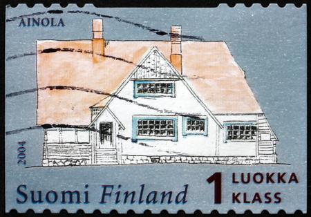 sibelius: FINLAND - CIRCA 2004: a stamp printed in Finland shows Sibelius House, Ainola, circa 2004