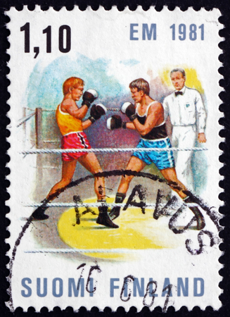 FINLAND - CIRCA 1980: a stamp printed in Finland shows Boxing Match, European Boxing Championships, Tampere, circa 1980