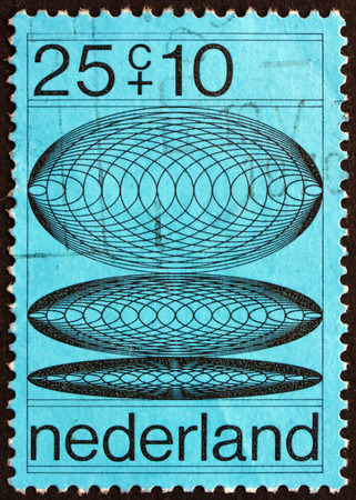 diameters: NETHERLANDS - CIRCA 1970: a stamp printed in Netherlands shows Transition Phases of Concentric Circles with Increasing Diameters, Design made by Computer, circa 1970