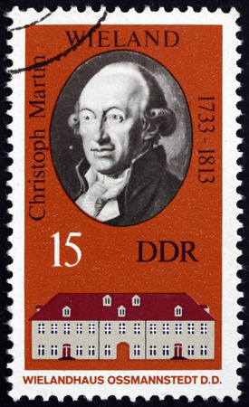 poet: GERMANY - CIRCA 1973: a stamp printed in Germany shows Christoph Martin Wieland, German Poet and Writer, circa 1973