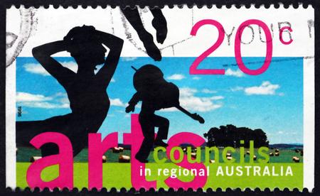 councils: AUSTRALIA - CIRCA 1996: a stamp printed in Australia shows Silhouettes of Ballet Dancer and Violinist, Arts Councils in Regional Australia, circa 1996 Editorial