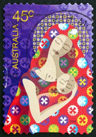 australia stamp: AUSTRALIA - CIRCA 2004: a stamp printed in the Australia shows Madonna and Child, Christmas, circa 2004