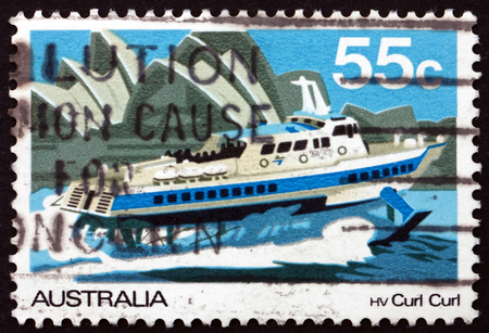 AUSTRALIA - CIRCA 1979: a stamp printed in the Australia shows Hydrofoil Curl Curl, Riverboat, Murray River, circa 1979 Editorial