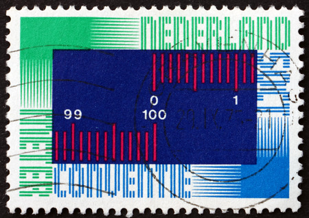 centenary: NETHERLANDS - CIRCA 1975: a stamp printed in Netherlands shows Symbolic Metric Scale, Centenary of International Meter Convention, Paris, circa 1975