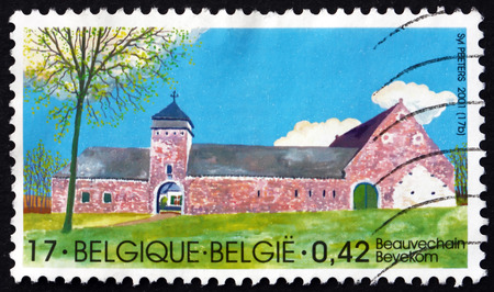 perforated: BELGIUM - CIRCA 2001: a stamp printed in the Belgium shows Beauvechain, Farmstead, circa 2001 Editorial