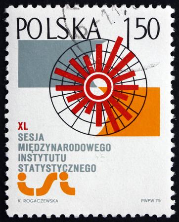 POLAND - CIRCA 1975: a stamp printed in Poland shows Cirkular Bar and Institutes Emblem, International Institute of Statistics, Warsaw, circa 1975 Editorial