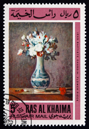 ras: RAS AL-KHAIMAH - CIRCA 1967: a stamp printed in Ras al-Khaimah shows Vase with Flowers, Painting by Jean Baptiste Chardin, circa 1967 Editorial