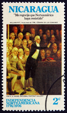 addressing: NICARAGUA - CIRCA 1975: a stamp printed in Nicaragua shows Pit Addressing Parliament, Painting by K. A. Hickel, American Bicentennial, circa 1975