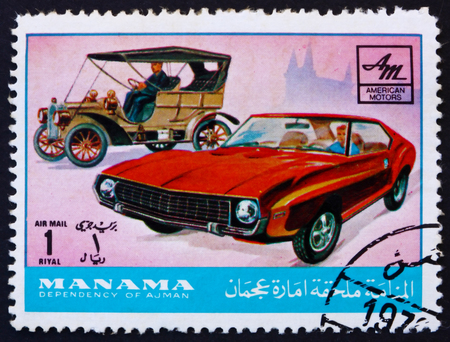 MANAMA - CIRCA 1972: a stamp printed in Manama shows American Motors, Cars Then and Now, circa 1972