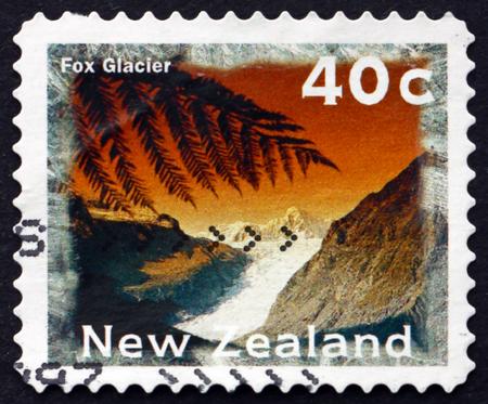 fox glacier: NEW ZEALAND - CIRCA 1996: a stamp printed in New Zealand shows Fox Glacier, Scenic View, circa 1996 Editorial