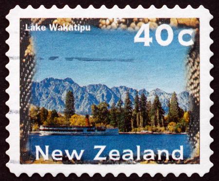 perforated: NEW ZEALAND - CIRCA 1996: a stamp printed in New Zealand shows Lake Wakatipu, Scenic View, circa 1996
