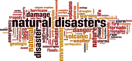 Natural disasters word cloud concept. Vector illustration