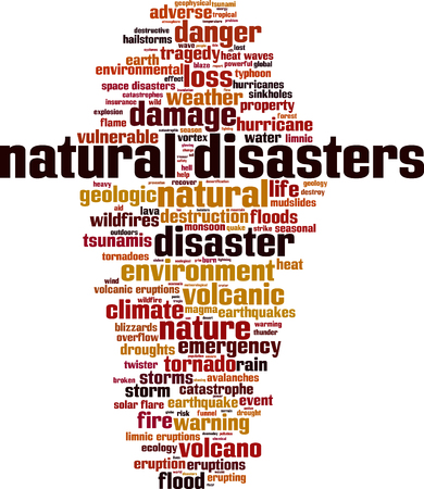 tornadoes: Natural disasters word cloud concept. Vector illustration