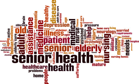 hospice: Senior Health word cloud concept. Vector illustration