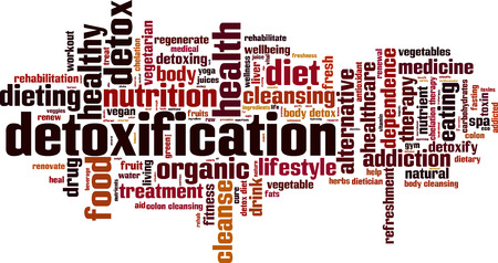 Detoxification word cloud concept. Vector illustration Stock Illustratie