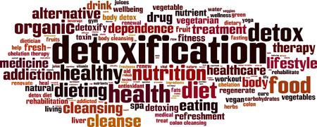 colon cleansing: Detoxification word cloud concept. Vector illustration Illustration