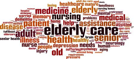 elderly care: Elderly care word cloud concept. Vector illustration