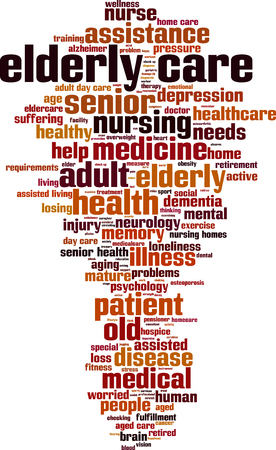 word: Elderly care word cloud concept. Vector illustration