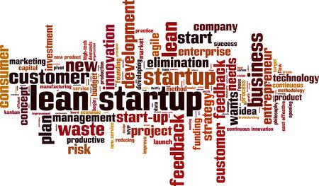 Lean startup word cloud concept. Vector illustration Ilustração