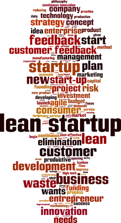 to lean: Lean startup word cloud concept. Vector illustration Illustration