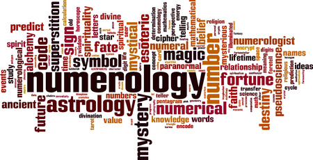 pseudoscience: Numerology word cloud concept. Vector illustration Illustration