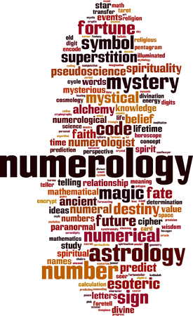 Numerology word cloud concept. Vector illustration Illustration