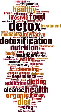 colon cleansing: Detox word cloud concept. illustration