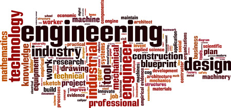 Engineering word cloud concept. Vector illustration